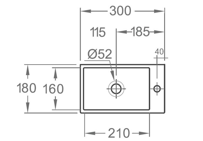 Fontein Rhea Mini XXS 30,5x18x11cm wit (kraangat rechts)