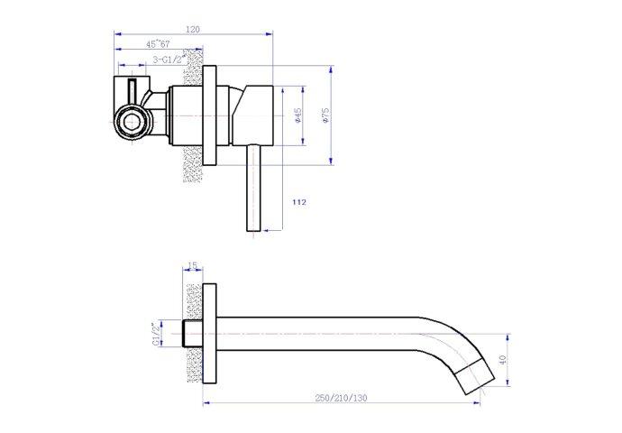 Wastafelkraan Best Design Ore Wand inbouw Uitloop 13cm RVS