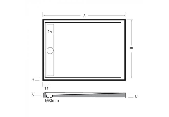 Douchebak rechthoek zelfdragend Easy Tray 170x90x5cm Mat