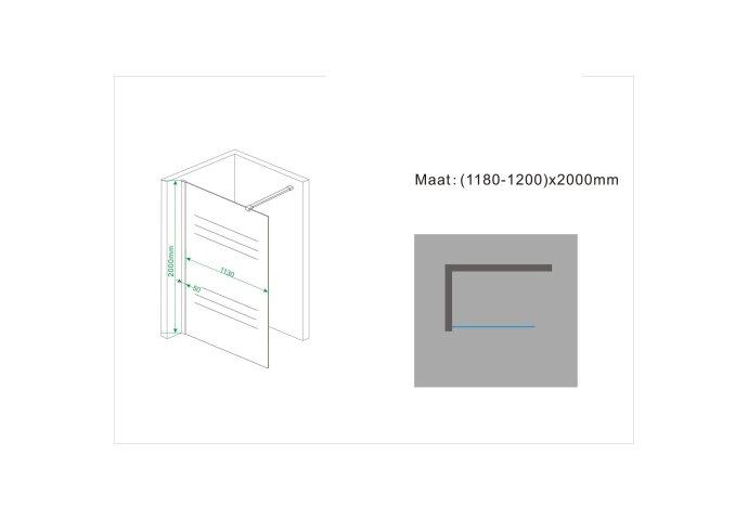 Inloopdouche Wiesbaden Wit Melkglas 120x200cm 10mm
