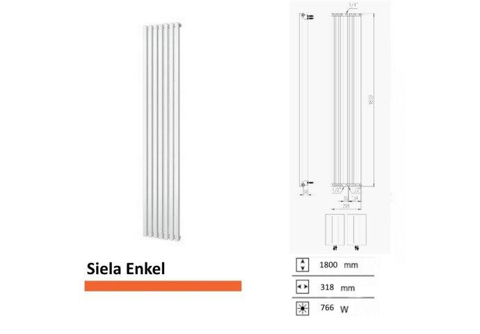 Handdoekradiator Boss & Wessing Siela Enkel 1800 x 318 mm | Tegeldepot.nl