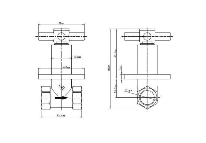 Stopkraan Wiesbaden Cross inbouw Chroom | Tegeldepot.nl