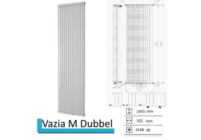 Designradiator Vazia M Dubbel 1970 x 532 mm Wit