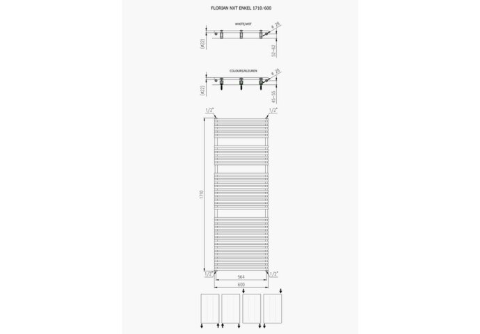 Designradiator Florion Nxt 171 x 60 cm 1046 Watt Zilver Metallic