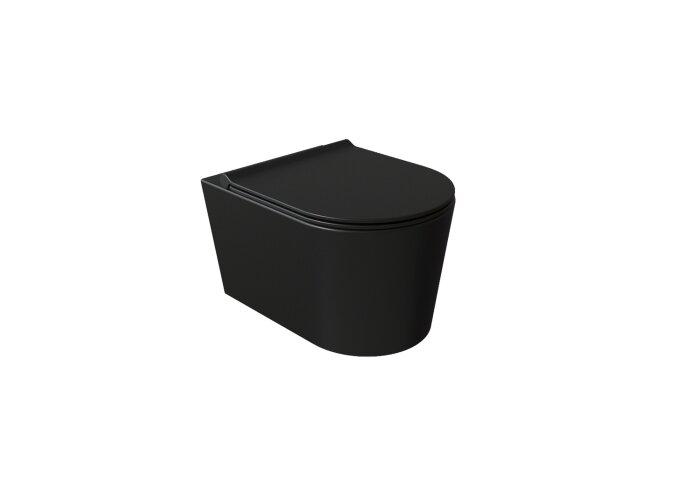 Wandcloset Civita Black 50x35x36.5cm Keramiek Rimless Mat Zwart (Excl. zitting)