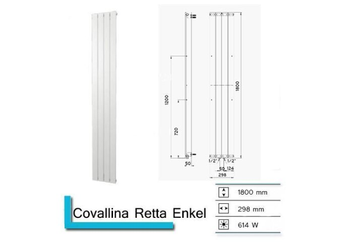 Handdoekradiator Covallina Retta Enkel 1800 x 298 mm Donker grijs structuur