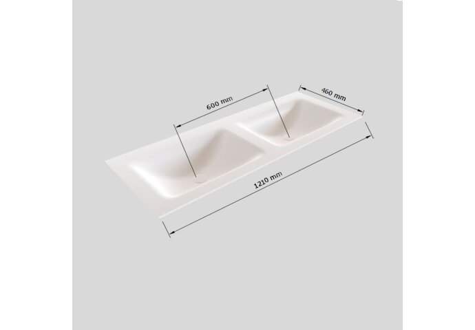 Badkamermeubel Solid Surface BWS Oslo 120x46 cm Dubbel Mat Antraciet (0 kraangaten)