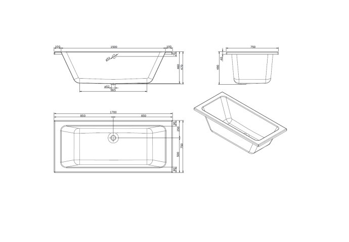 Ligbad Sanindusa Plan 170x75 cm Acryl Wit
