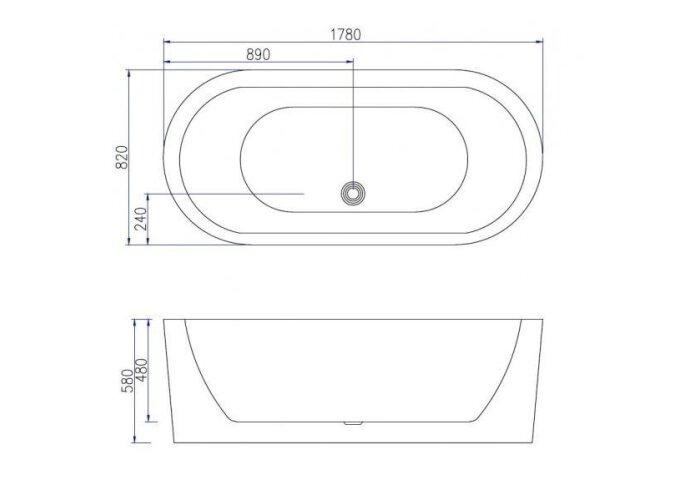 Vrijstaand Ligbad Beste Design Sique 178x82x58cm Wit