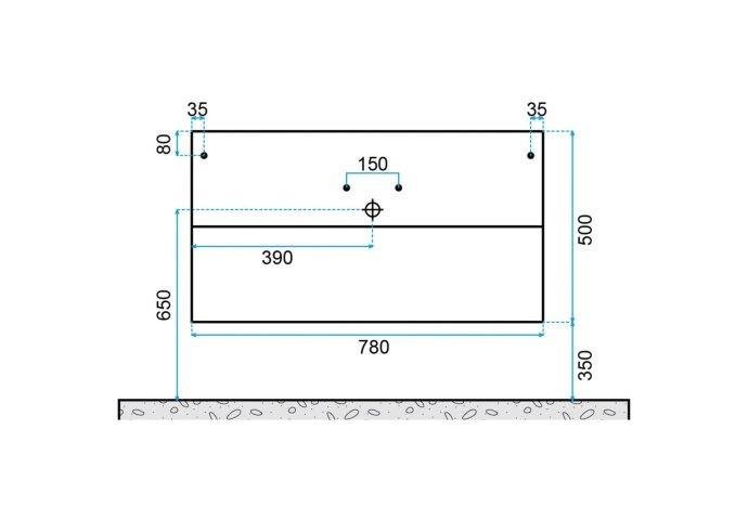 Badkamermeubelset Dekker Klea 80x50x44.5 cm Antraciet