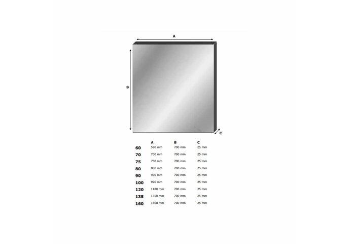 Spiegel Alu 120 (118x70 cm)