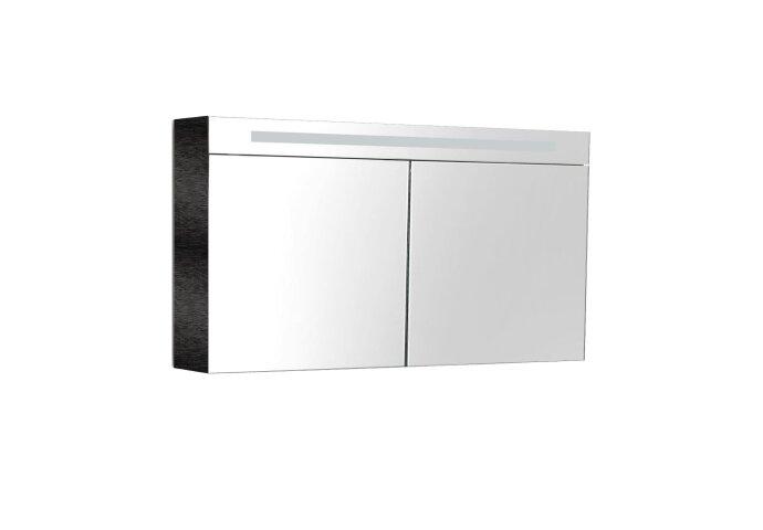 Spiegelkast Sanilux Deluxe 120x70x16cm met TL verlichting en stopcontact Zwart Wenge