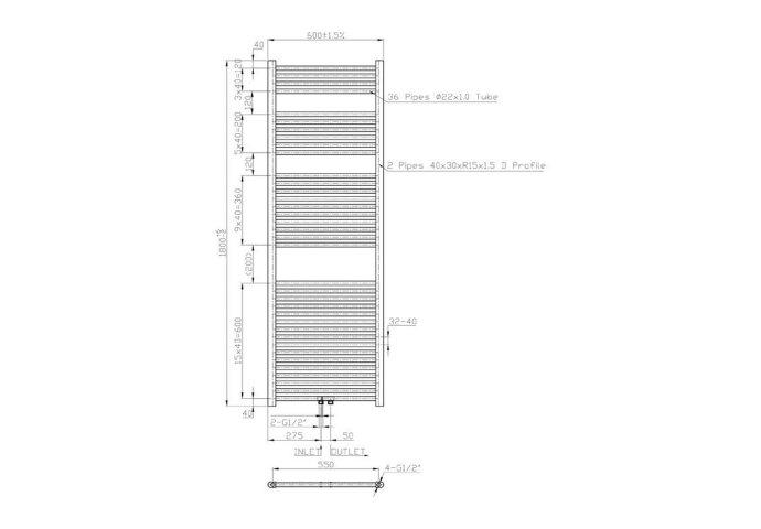 Radiator Sanilux Lydia 180x60cm Chroom 900 Watt (incl. bevestigingsset, blindstop en ontluchter)