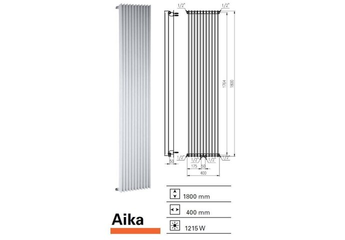 Designradiator Aika 1800 x 400 mm Wit Structuur