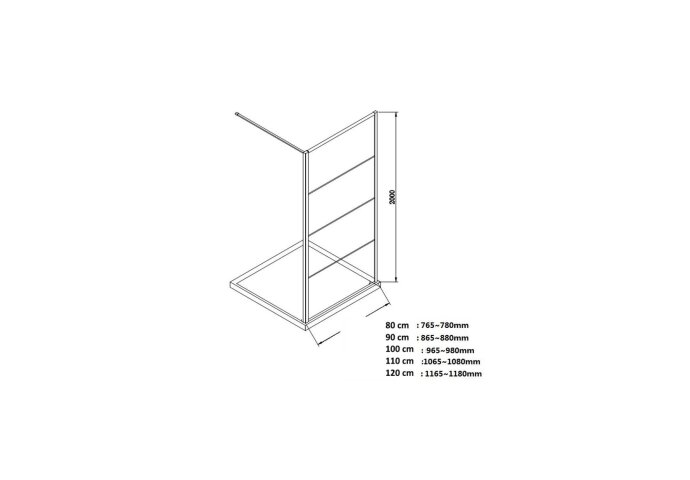 BWS Inloopdouche Frame 90x200 cm 8mm NANO Glas Mat Zwart Raster