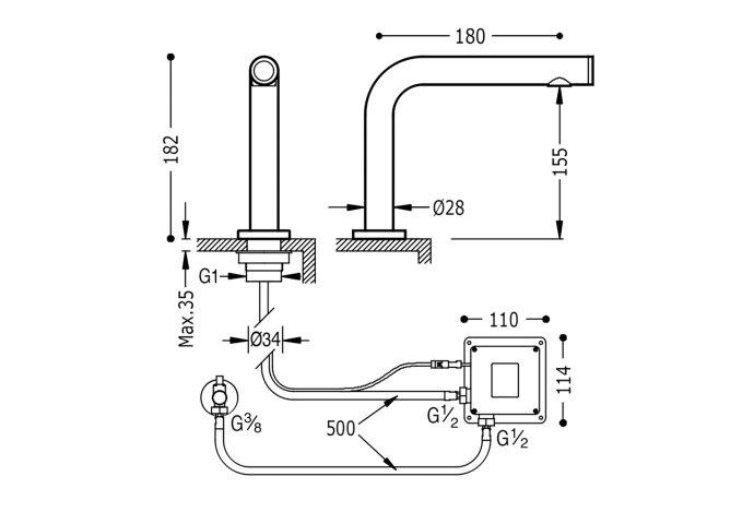 Elektronische Fonteinkraan Tres Trestronic Touch-Tres Chroom