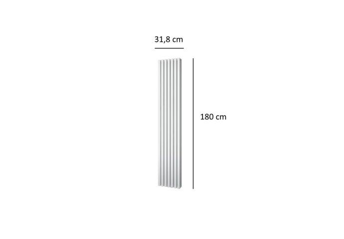 Designradiator Plieger Siena Dubbele Variant 1096 Watt Middenaansluiting 180x31,8 cm Wit