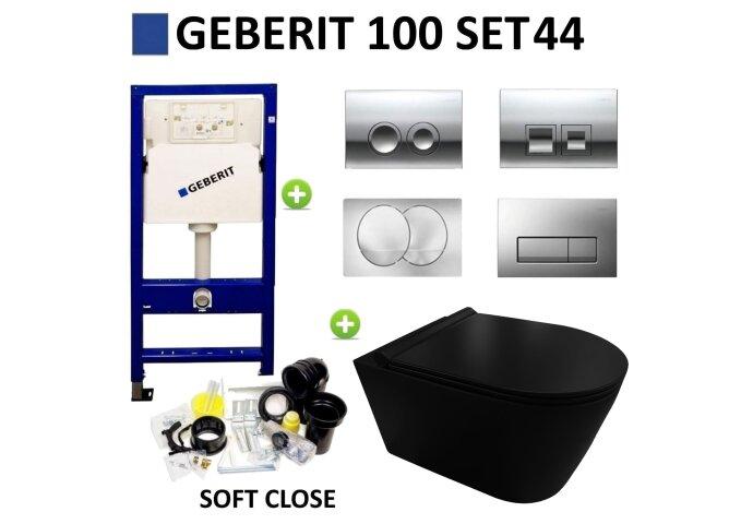Geberit UP100 Toiletset set44 Civita Black Randloos Mat Zwart Met Delta drukplaat