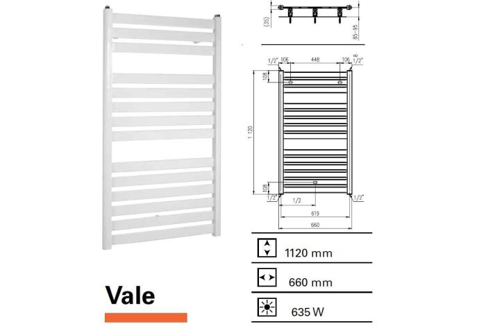 Designradiator Vale 1120 x 660 mm Antraciet Metallic