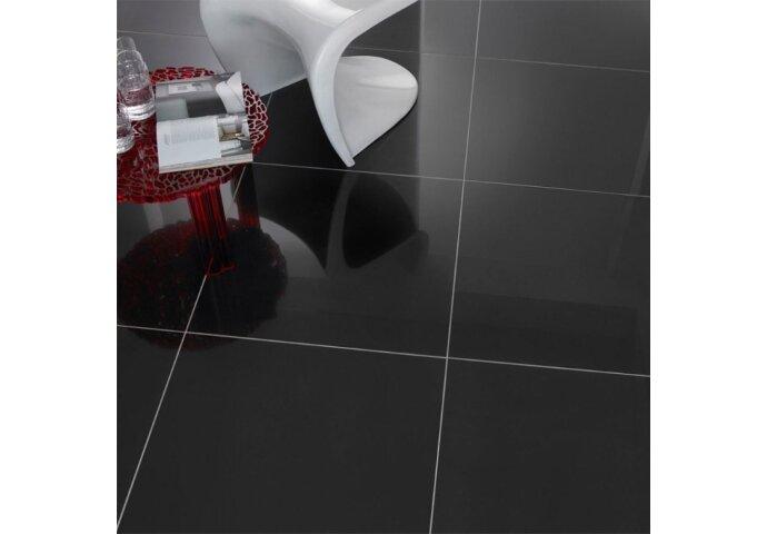 Vloertegel Profiker Zwart Hoogglans Gepolijst 60x60cm
