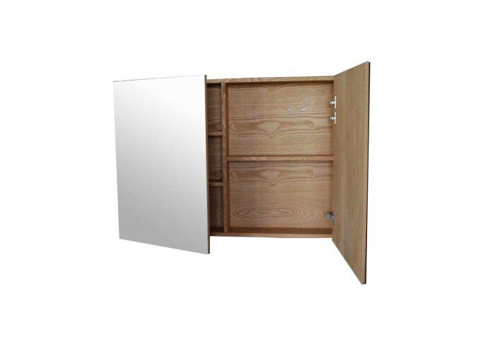 Spiegelkast Sanilux Wood 100x70x16cm Massief eiken Softclose 3 Legplanken