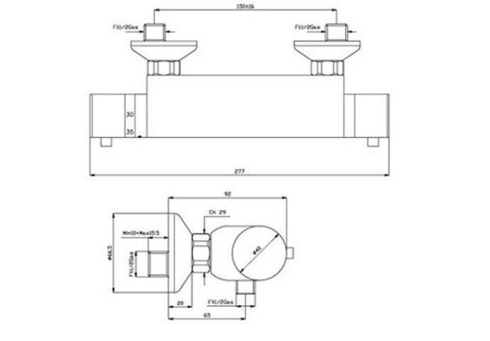 Douchekraan thermostatisch Still chroom (Douchekranen opbouw)