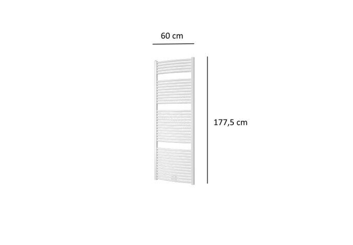 Designradiator Plieger Palmyra Gebogen 1046 Watt Midden- of Zijaansluiting 177,5x60 cm Wit