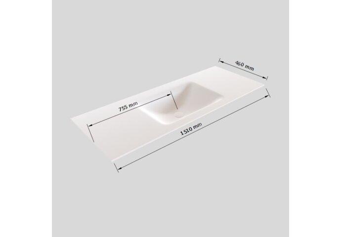 Badkamermeubel Solid Surface BWS Oslo 150x45 cm Mat Zwart Urban Midden (0 kraangaten)
