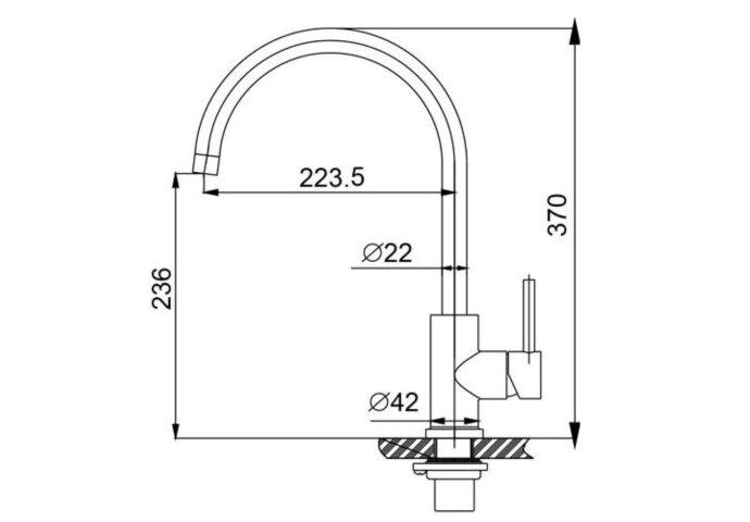 304-Austin RVS Keukenkraan hooggebogen uitloop (Keukenkraan)