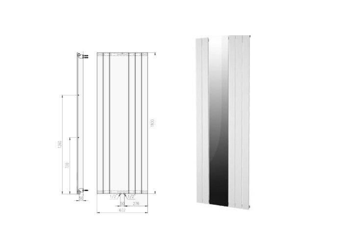 Designradiator Plieger Cavallino Retto Specchio 773 Watt Middenaansluiting 180x60,2 cm Mat Wit