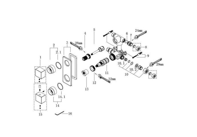 Douchethermostaatkraan Inbouw Rombo 2-Wegs Vierkant Chroom