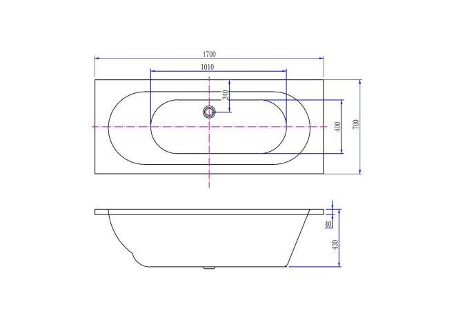 BWS Inbouw Duo Ligbad Portus Acryl 170x70x43 cm Wit