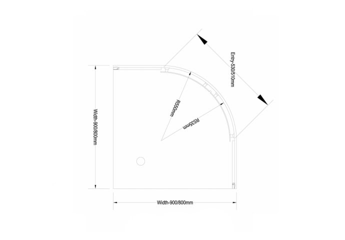 AKTIE Douchecabine Boss & Wessing Kwartrond 2 Schuifdeuren 80x80 cm 4 mm