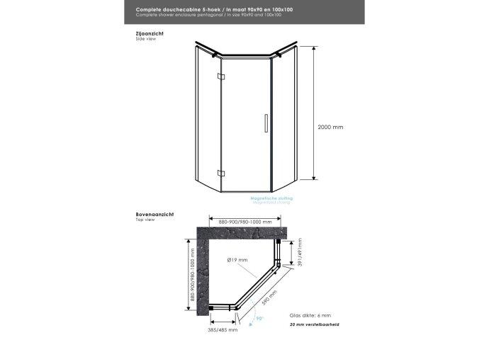 Douchecabine Sanitop Luxe vijfhoek met 1 scharnierdeur 90x90cm 6mm