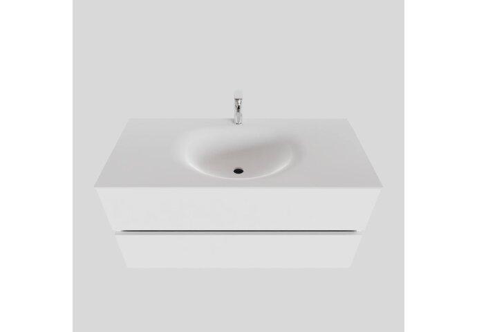 Badkamermeubel Solid Surface BWS Stockholm 100x46 cm Midden Mat Wit (met 1 kraangat)