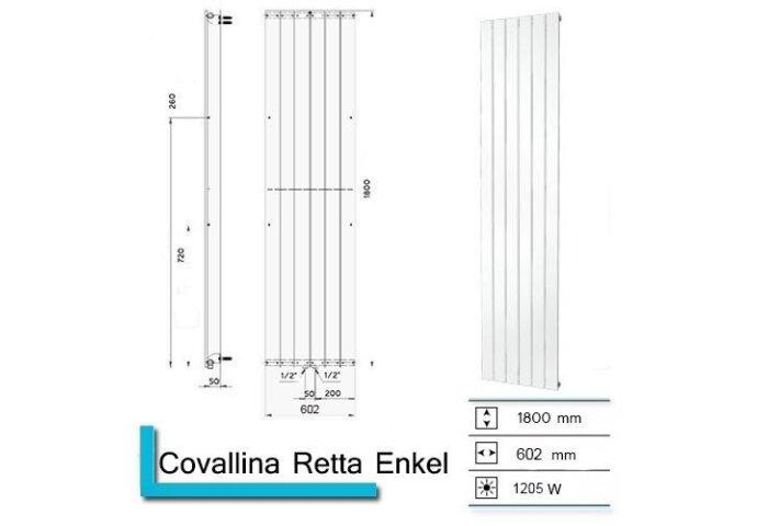 Handdoekradiator Covallina Retta enkel 1800x602mm  Zwart Grafiet