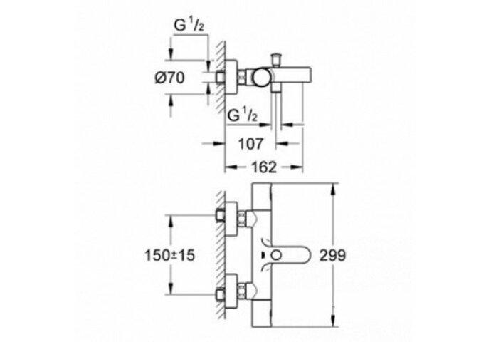 Grohe Precision Joy Thermostatische badkraan 34337000 (Badrandkraan)