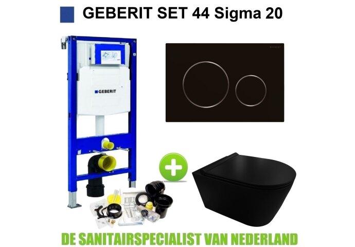 Geberit UP320 Toiletset set44 Civita Black Rimless Met Sigma 20 Matzwarte Drukplaat