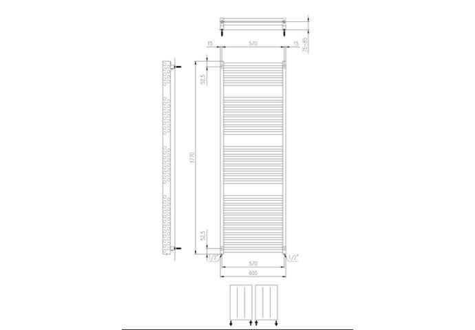 Designradiator Boss & Wessing Ifona 177x60 cm 1359 Watt Met Zijaansluiting Black Graphite