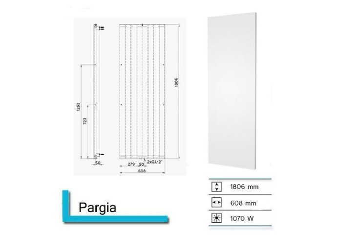 Handdoekradiator Pargia 1806 x 608 mm Pearl Grey