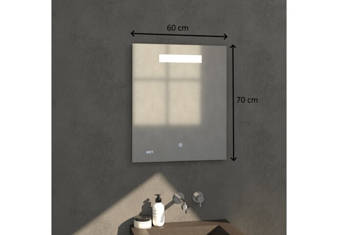 Badkamerspiegel met LED Verlichting Sanitop Clock 60x70 cm met Digitale Klok en Sensor