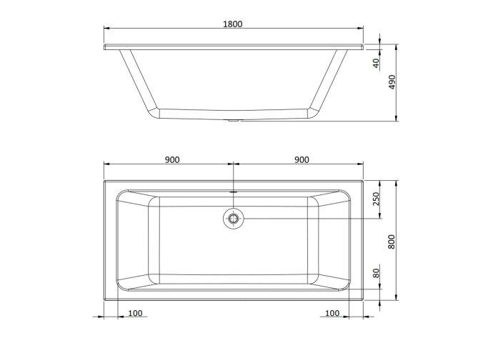 BWS Duo Inbouw Ligbad Santino 180x80x49 cm Acryl Wit