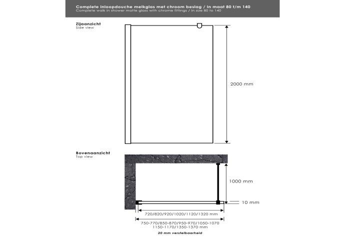 Inloopdouche Sanitop Melkglas met Muurprofiel 135x200 cm 10mm Taylor Protect