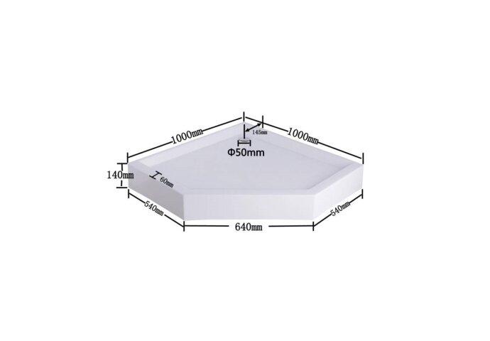 Douchebak Sanilux Xaro Vijfhoek Wit Acryl 100x100x14cm met vaste plint