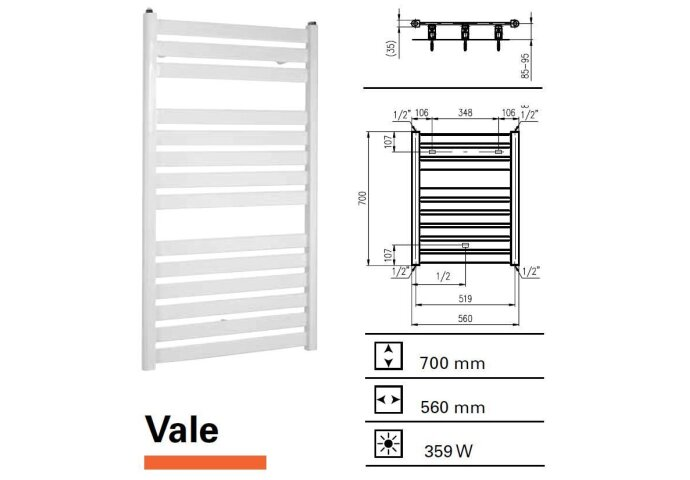Handdoekradiator Boss & Wessing Vale 700 x 560 mm