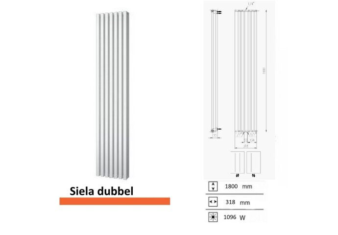 Handdoekradiator Boss & Wessing Siela Dubbel 1800 x 318 mm | Tegeldepot.nl